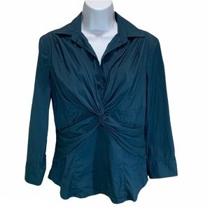Ann Taylor Blue Twisted Knot 3/4 Sleeve Blouse